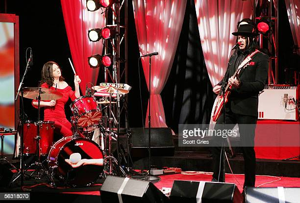 Jack White and Meg White of the White Stripes perform on 'The Daily Show With Jon Stewart' the first live band performance for the show December 1...