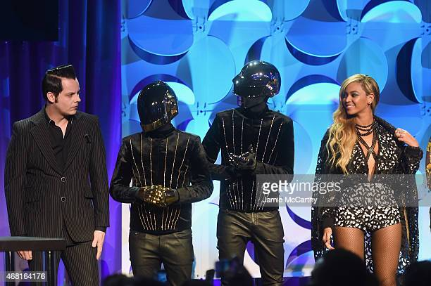 Jack White Daft Punk and Beyonce onstage at the Tidal launch event #TIDALforALL at Skylight at Moynihan Station on March 30 2015 in New York City