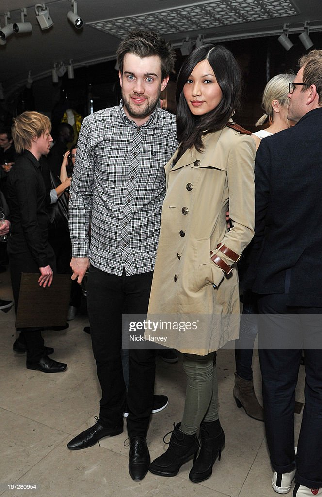 <a gi-track='captionPersonalityLinkClicked' href=/galleries/search?phrase=Jack+Whitehall&family=editorial&specificpeople=5726669 ng-click='$event.stopPropagation()'>Jack Whitehall</a> and <a gi-track='captionPersonalityLinkClicked' href=/galleries/search?phrase=Gemma+Chan&family=editorial&specificpeople=6928347 ng-click='$event.stopPropagation()'>Gemma Chan</a> attend Burberry Live at 121 Regent Street at Burberry on April 23, 2013 in London, England.