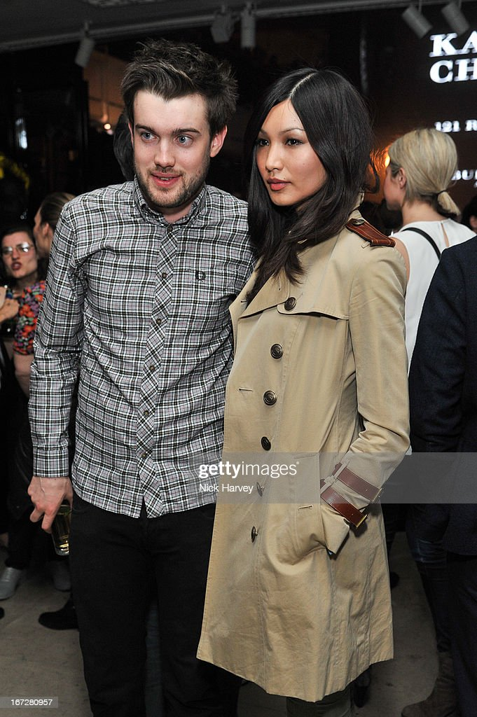 Jack Whitehall and Gemma Chan attend Burberry Live at 121 Regent Street at Burberry on April 23, 2013 in London, England.