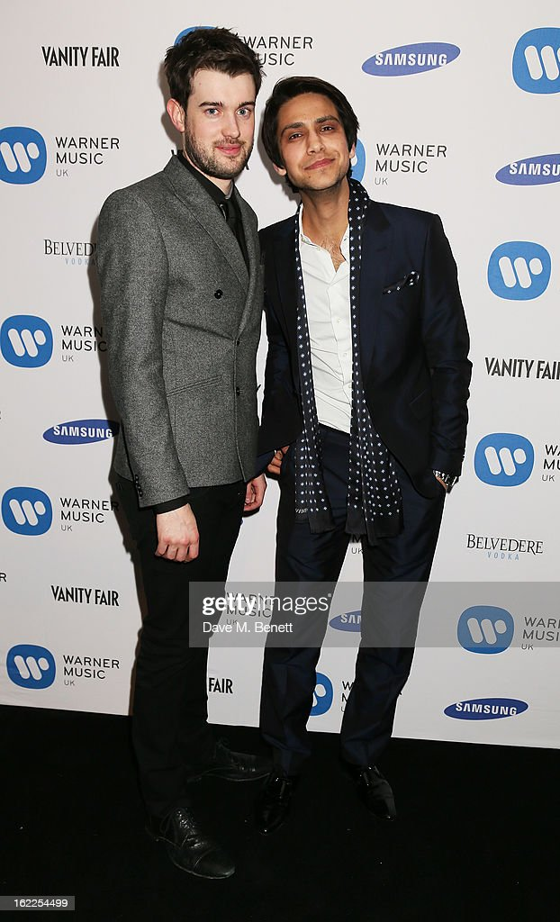 <a gi-track='captionPersonalityLinkClicked' href=/galleries/search?phrase=Jack+Whitehall&family=editorial&specificpeople=5726669 ng-click='$event.stopPropagation()'>Jack Whitehall</a> (L) and Luke Pasqualino attends the Warner Music Group Post BRIT Party In Association With Samsung at The Savoy Hotel on February 20, 2013 in London, England.