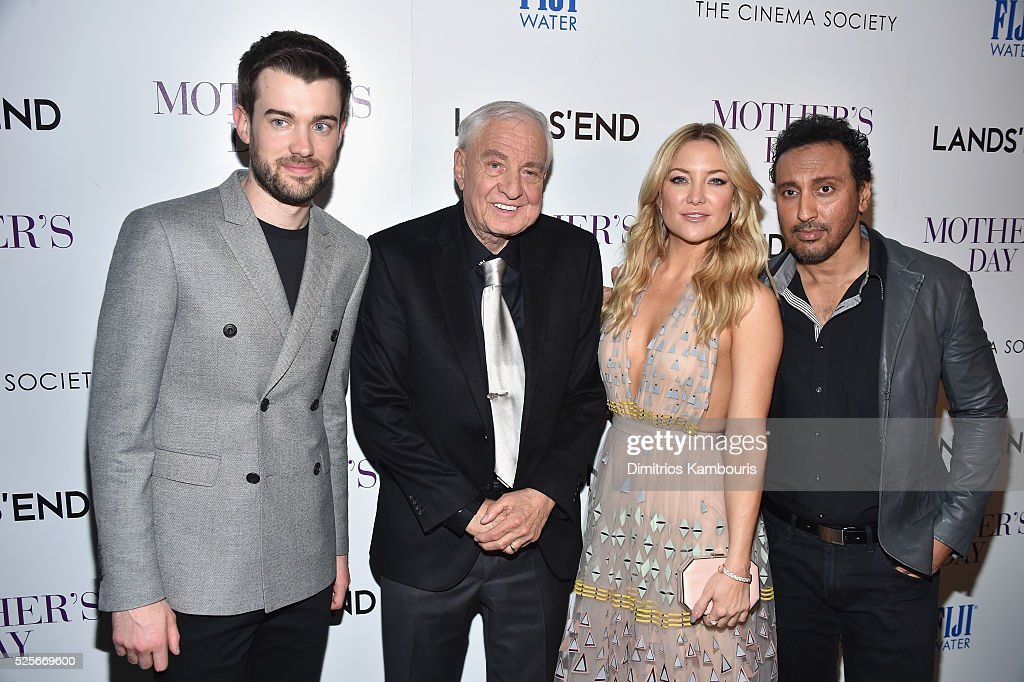 Jack Whitehall, Garry Marshall, Kate Hudson and Aasif Mandvi attend The Cinema Society with Lands' End screening of Open Road Films' 'Mother's Day' at Metrograph on April 28, 2016 in New York City.