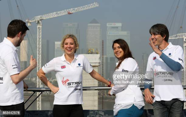 Jack Whitehall Holly Branson Marion Bartoli and Brian Cox on the O2 rooftop in Greenwich London during the launch of the STRIVE challenge an...