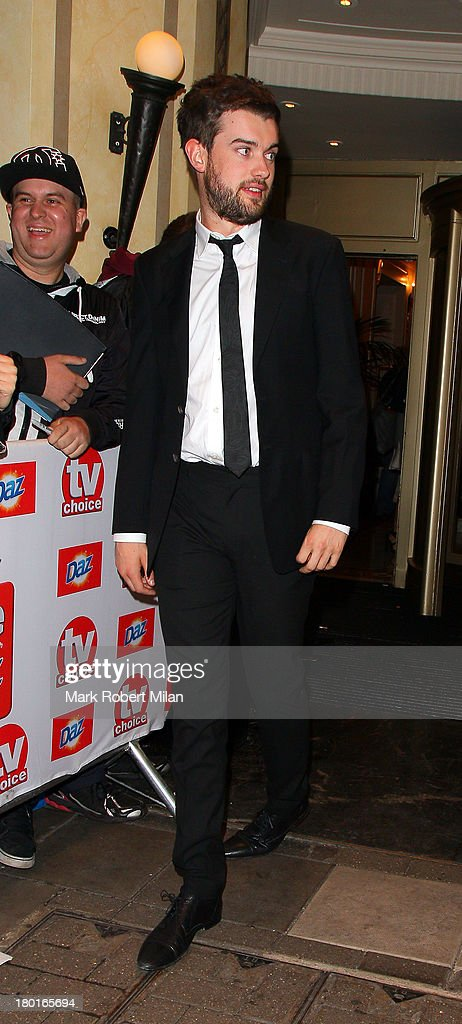 <a gi-track='captionPersonalityLinkClicked' href=/galleries/search?phrase=Jack+Whitehall&family=editorial&specificpeople=5726669 ng-click='$event.stopPropagation()'>Jack Whitehall</a> leaving the TV Choice awards ceremony held at the Dorchester hotel on September 9, 2013 in London, England.