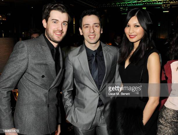 Jack Whitehall Ralf Little and Gemma Chan attend the PreBAFTA Party hosted by EE and Esquire ahead of the 2013 EE British Academy Film Awards at The...