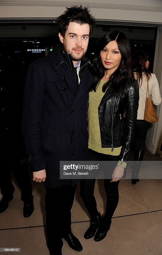 Jack Whitehall (L), wearing Burberry, and Gemma Chan attend the Burberry Live at 121 Regent Street event on January 31, 2013 in London, England.