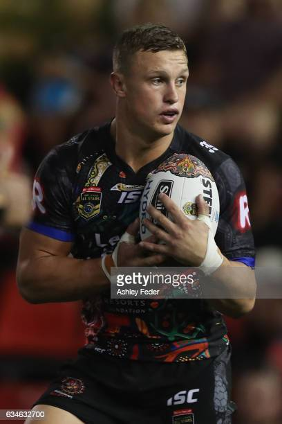 Jack Wighton of Indigenous All Stars runs the ball during the NRL All Stars match between the 2017 Harvey Norman All Stars and the NRL World All...