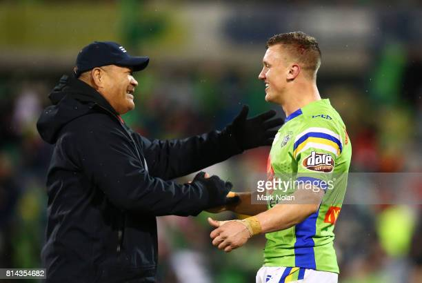Jack Wighton of the Raiders celebrate after the round 19 NRL match between the Canberra Raiders and the St George Illawarra Dragons at GIO Stadium on...