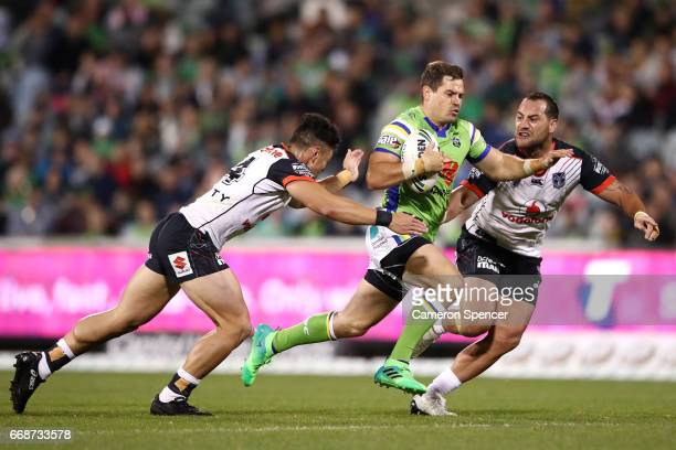 Jack Wighton of the Raiders makes a break during the round seven NRL match between the Canberra Raiders and the New Zealand Warriors at GIO Stadium...