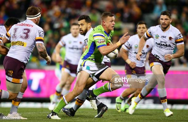 Jack Wighton of the Raiders makes a line break to score during the round 16 NRL match between the Canberra Raiders and the Brisbane Broncos at GIO...