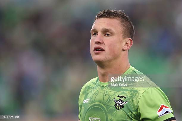 Jack Wighton of the Raiders watches on during warmup ahead the NRL Qualifying Final match between the Canberra Raiders and the Cronulla Sharks at GIO...