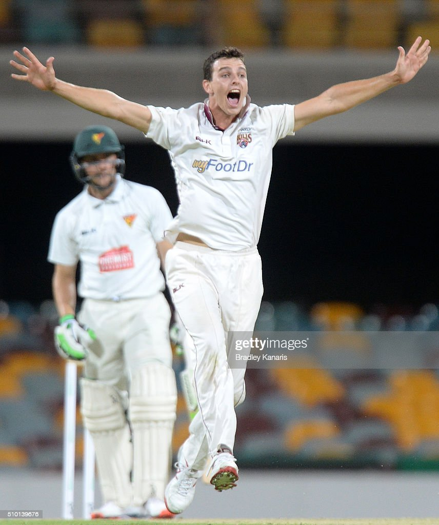 Jack Wildermuth of Queensland appeals to the umpire during day one of the Sheffield Shield match between Queensland and Tasmania at The Gabba on February 14, 2016 in Brisbane, Australia.