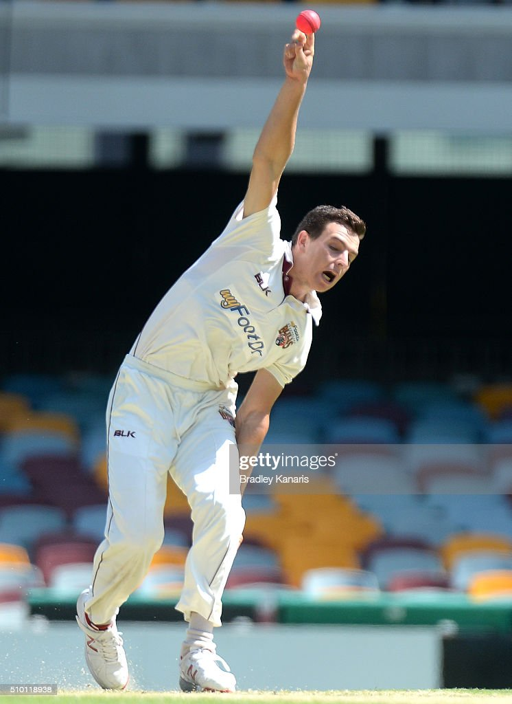 Jack Wildermuth of Queensland bowls during day one of the Sheffield Shield match between Queensland and Tasmania at The Gabba on February 14, 2016 in Brisbane, Australia.