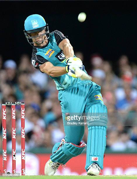 Jack Wildermuth of the Heat hits the ball over the boundary for a six during the Big Bash League semi final match between the Brisbane Heat and the...