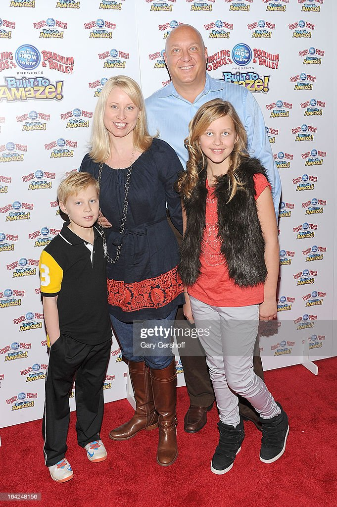 Jack Wilkos, Rachelle Consiglio, Steve Wilkos and Ruby Wilkos attend the Ringling Bros. and Barnum & Bailey 'Build To Amaze!' Opening Night at Barclays Center on March 21, 2013 in the Brooklyn borough of New York City.