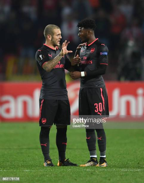 Jack Wilshere and Ainsley MaitlandNiles of Arsenal during the UEFA Europa League group H match between Crvena Zvezda and Arsenal FC at Rajko Mitic...