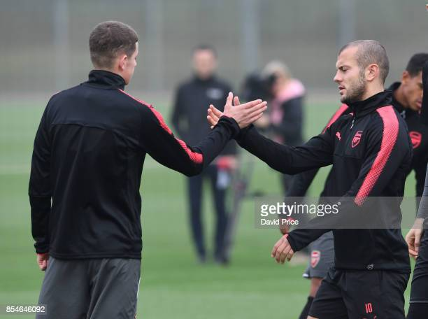Jack Wilshere and Charlie Gilmour of Arsenal during the Arsenal Training Session at London Colney on September 27 2017 in St Albans England