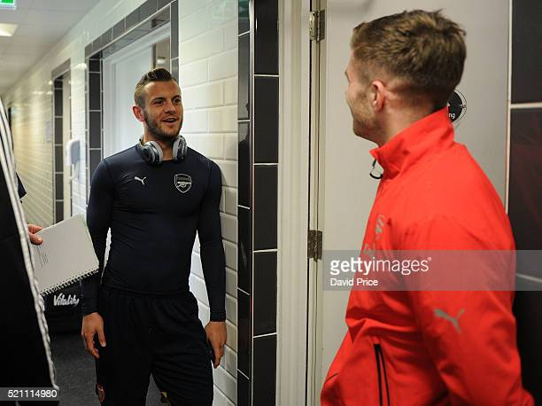 Jack Wilshere and Dan Crowley of Arsenal before the match between Swansea City and Arsenal at Landore Training Ground on April 14 2016 in Swansea...