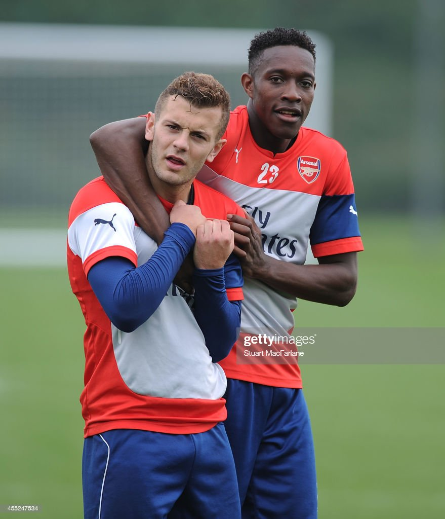 <a gi-track='captionPersonalityLinkClicked' href=/galleries/search?phrase=Jack+Wilshere&family=editorial&specificpeople=5446655 ng-click='$event.stopPropagation()'>Jack Wilshere</a> and <a gi-track='captionPersonalityLinkClicked' href=/galleries/search?phrase=Danny+Welbeck&family=editorial&specificpeople=4223930 ng-click='$event.stopPropagation()'>Danny Welbeck</a> of Arsenal during a training session at London Colney on September 11, 2014 in St Albans, England.