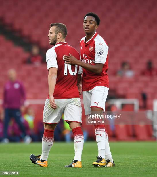 Jack Wilshere and Joe Willock of Arsenal during the match between Arsenal U23 and Manchester City U23 at Emirates Stadium on August 21 2017 in London...
