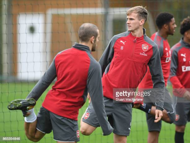 Jack Wilshere and Rob Holding of Arsenal during a training session at London Colney on October 23 2017 in St Albans England