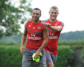 Jack Wilshere and Santi Cazorla of Arsenal during a 1st team training session at London Colney on July 23 2016 in St Albans England