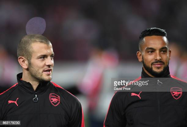 Jack Wilshere and Theo Walcott of Arsenal before the UEFA Europa League group H match between Crvena Zvezda and Arsenal FC at Rajko Mitic Stadium on...