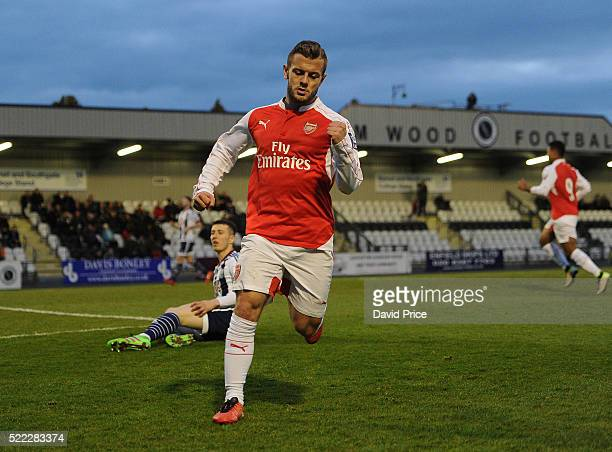 Jack Wilshere celebrates scoring a goal for Arsenal during the match between Arsenal U21 and West bromwich Albion U21 at Meadow Park on April 18 2016...