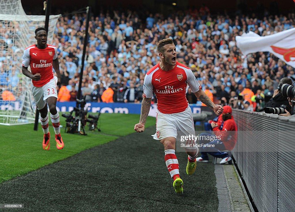 <a gi-track='captionPersonalityLinkClicked' href=/galleries/search?phrase=Jack+Wilshere&family=editorial&specificpeople=5446655 ng-click='$event.stopPropagation()'>Jack Wilshere</a> celebrates scoring for Arsenal during the Barclays Premier League match between Arsenal and Manchester City at Emirates Stadium on September 13, 2014 in London, England.