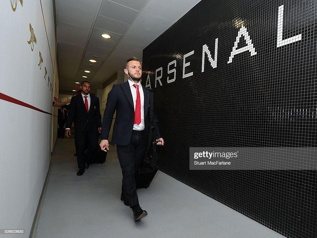 Jack Wilshere in the Arsenal changing room before the Barclays Premier League match between Arsenal and Norwich City at Emirates Stadium on April 30, 2016 in London, England.