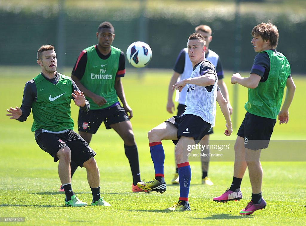 Jack Wilshere, Laurent Koscielny and Andrey Arshavin of Arsenal during a training session at London Colney on May 03, 2013 in St Albans, England.