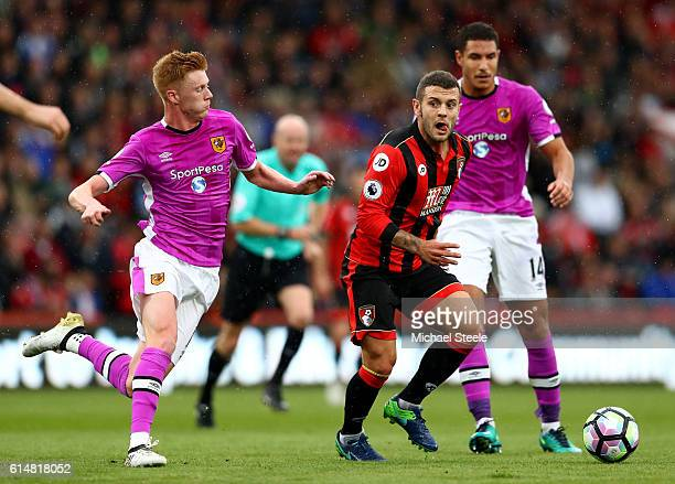 Jack Wilshere of AFC Bournemouth is closed down by Sam Clucas of Hull City during the Premier League match between AFC Bournemouth and Hull City at...