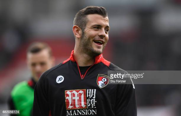 Jack Wilshere of AFC Bournemouth looks on while warming up prior to the Premier League match between AFC Bournemouth and West Ham United at Vitality...