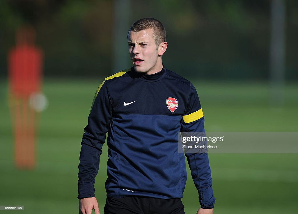 <a gi-track='captionPersonalityLinkClicked' href=/galleries/search?phrase=Jack+Wilshere&family=editorial&specificpeople=5446655 ng-click='$event.stopPropagation()'>Jack Wilshere</a> of Arsenal before a training session at London Colney on November 5, 2012 in St Albans, England.
