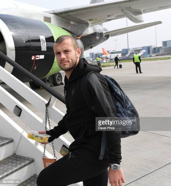 Jack Wilshere of Arsenal boards the plane at Luton Airport on September 27 2017 in Luton England