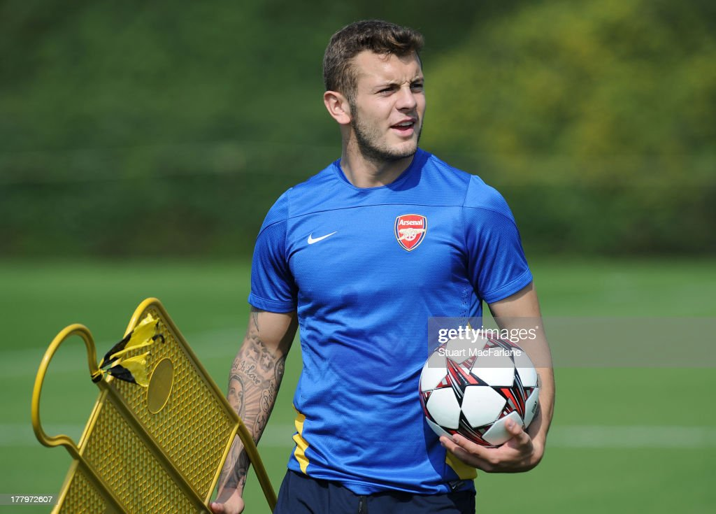 <a gi-track='captionPersonalityLinkClicked' href=/galleries/search?phrase=Jack+Wilshere&family=editorial&specificpeople=5446655 ng-click='$event.stopPropagation()'>Jack Wilshere</a> of Arsenal during a training session ahead of their UEFA Champions League Play Off second leg match against Fenerbache at London Colney on August 26, 2013 in St Albans, England.