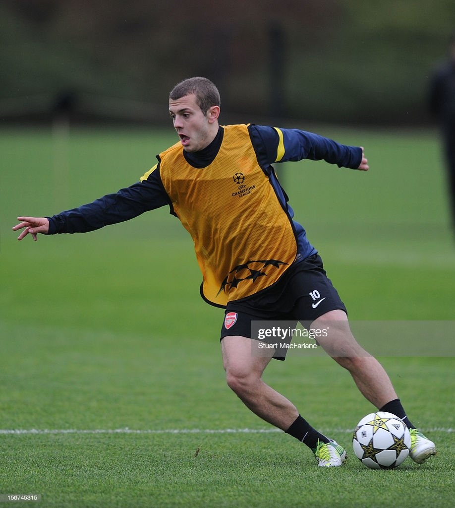 Jack Wilshere of Arsenal during a training session at London Colney on November 20, 2012 in St Albans, England.