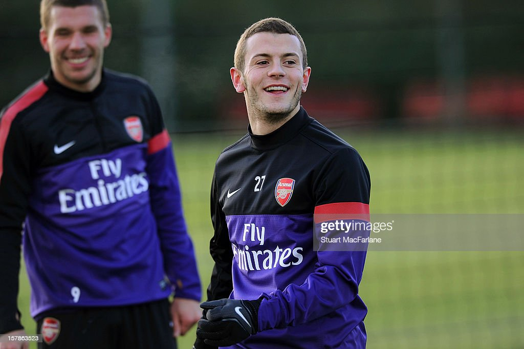 Jack Wilshere of Arsenal during a training session at London Colney on December 07, 2012 in St Albans, England.