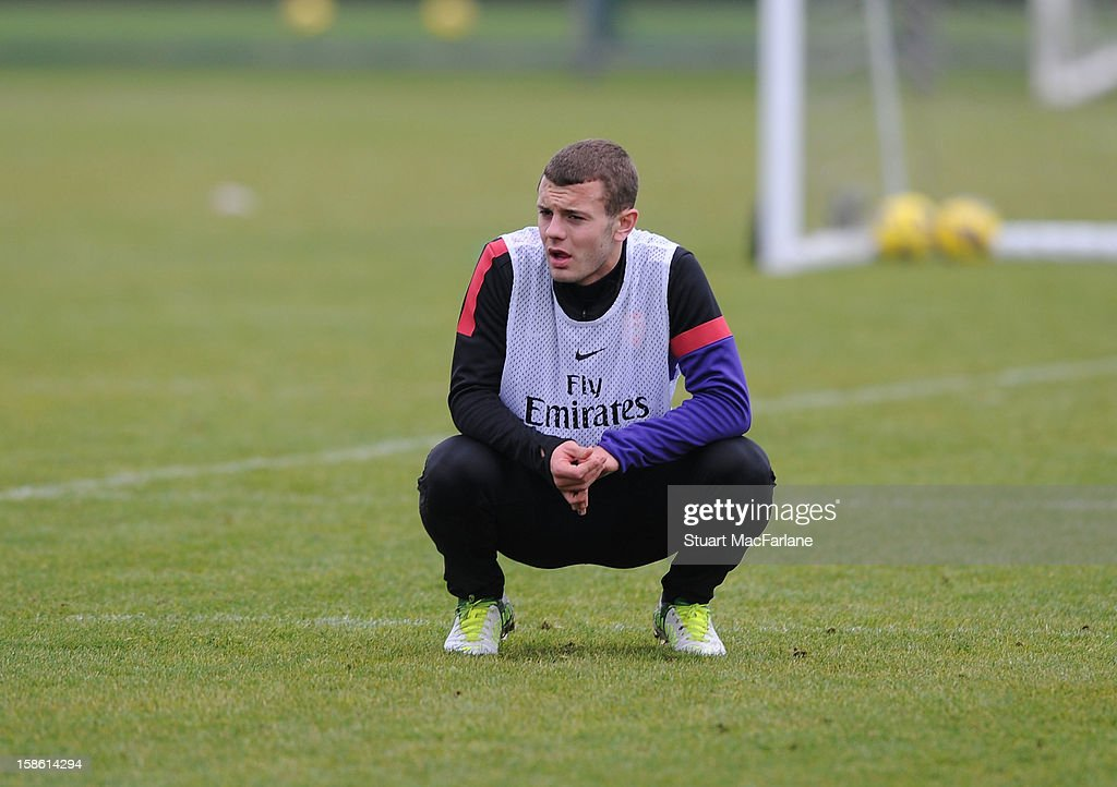 <a gi-track='captionPersonalityLinkClicked' href=/galleries/search?phrase=Jack+Wilshere&family=editorial&specificpeople=5446655 ng-click='$event.stopPropagation()'>Jack Wilshere</a> of Arsenal during a training session at London Colney on December 21, 2012 in St Albans, England.