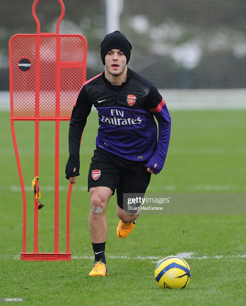 <a gi-track='captionPersonalityLinkClicked' href=/galleries/search?phrase=Jack+Wilshere&family=editorial&specificpeople=5446655 ng-click='$event.stopPropagation()'>Jack Wilshere</a> of Arsenal during a training session at London Colney on January 15, 2013 in St Albans, England.