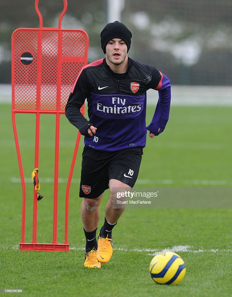 Jack Wilshere of Arsenal during a training session at London Colney on January 15, 2013 in St Albans, England.