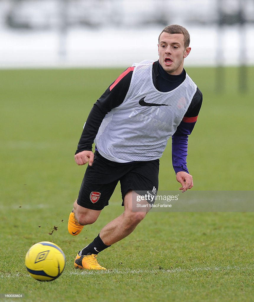 Jack Wilshere of Arsenal during a training session at London Colney on January 25, 2013 in St Albans, England.