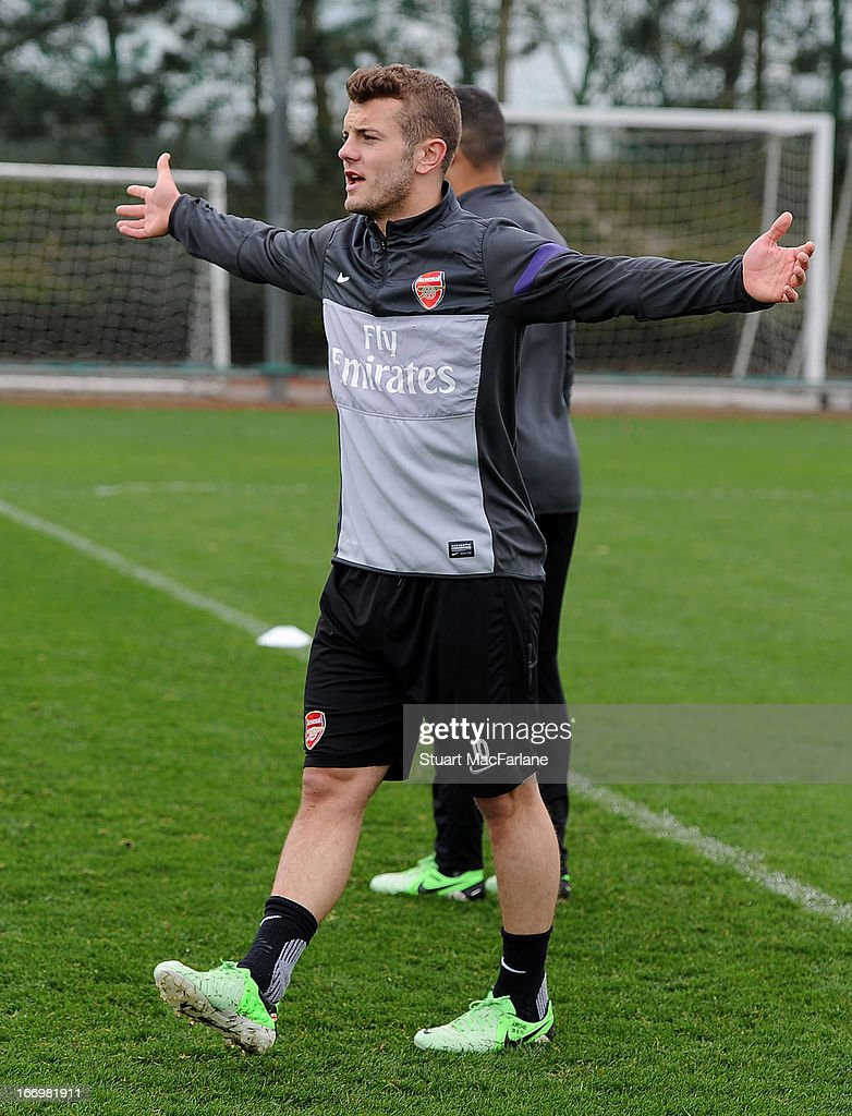 Jack Wilshere of Arsenal during a training session at London Colney on April 19, 2013 in St Albans, England.