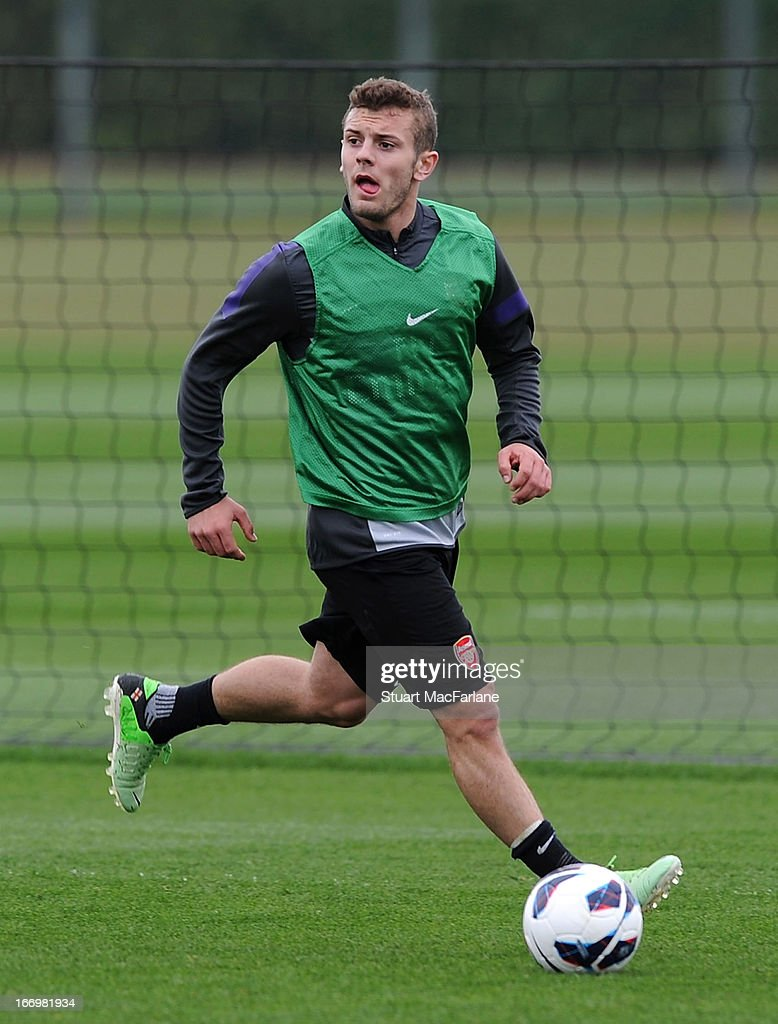 <a gi-track='captionPersonalityLinkClicked' href=/galleries/search?phrase=Jack+Wilshere&family=editorial&specificpeople=5446655 ng-click='$event.stopPropagation()'>Jack Wilshere</a> of Arsenal during a training session at London Colney on April 19, 2013 in St Albans, England.