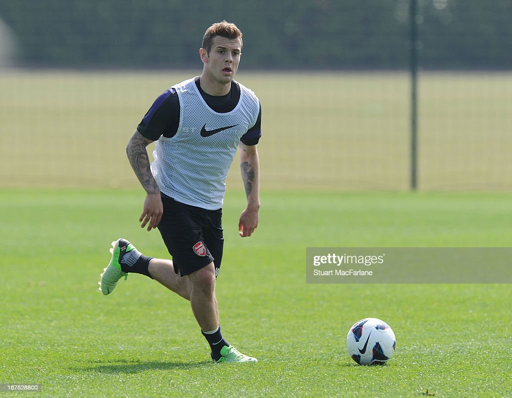 Jack Wilshere of Arsenal during a training session at London Colney on April 26, 2013 in St Albans, England.