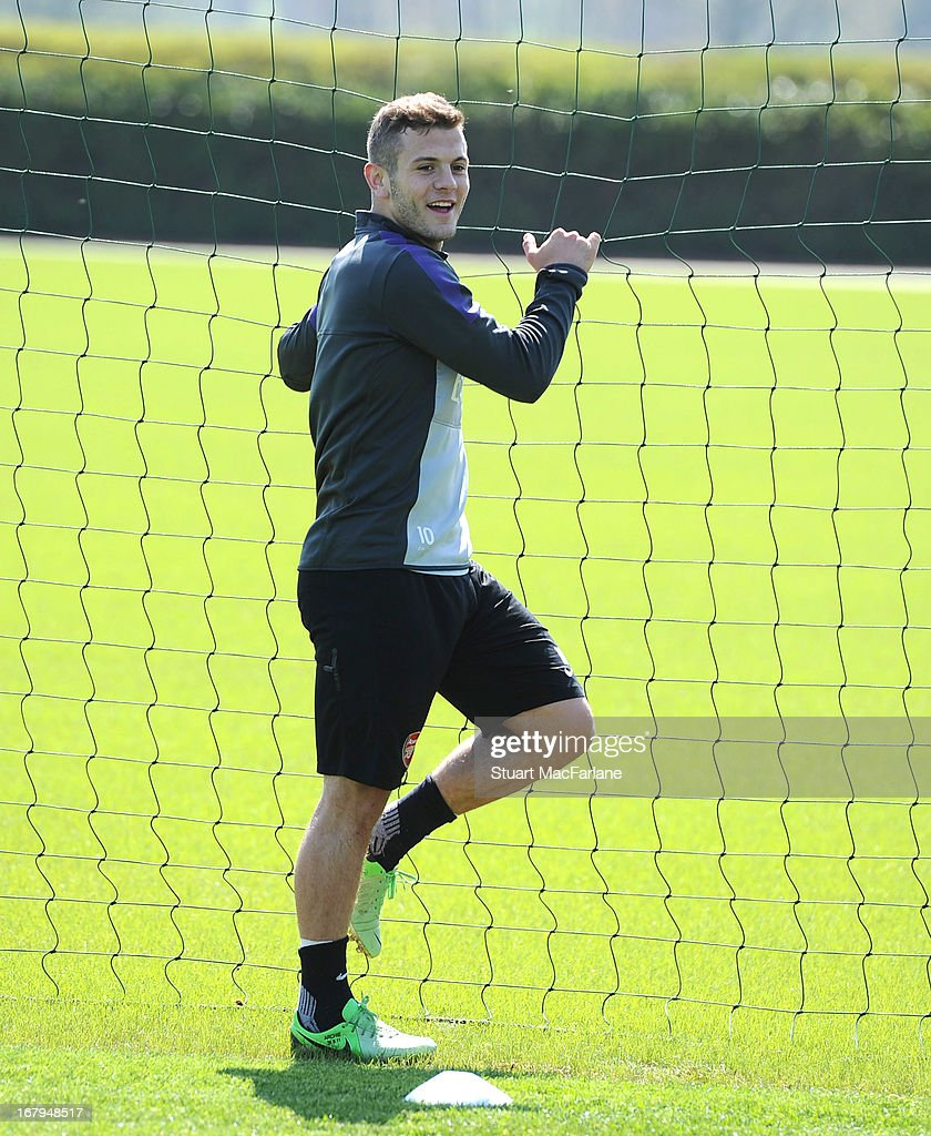 <a gi-track='captionPersonalityLinkClicked' href=/galleries/search?phrase=Jack+Wilshere&family=editorial&specificpeople=5446655 ng-click='$event.stopPropagation()'>Jack Wilshere</a> of Arsenal during a training session at London Colney on May 03, 2013 in St Albans, England.