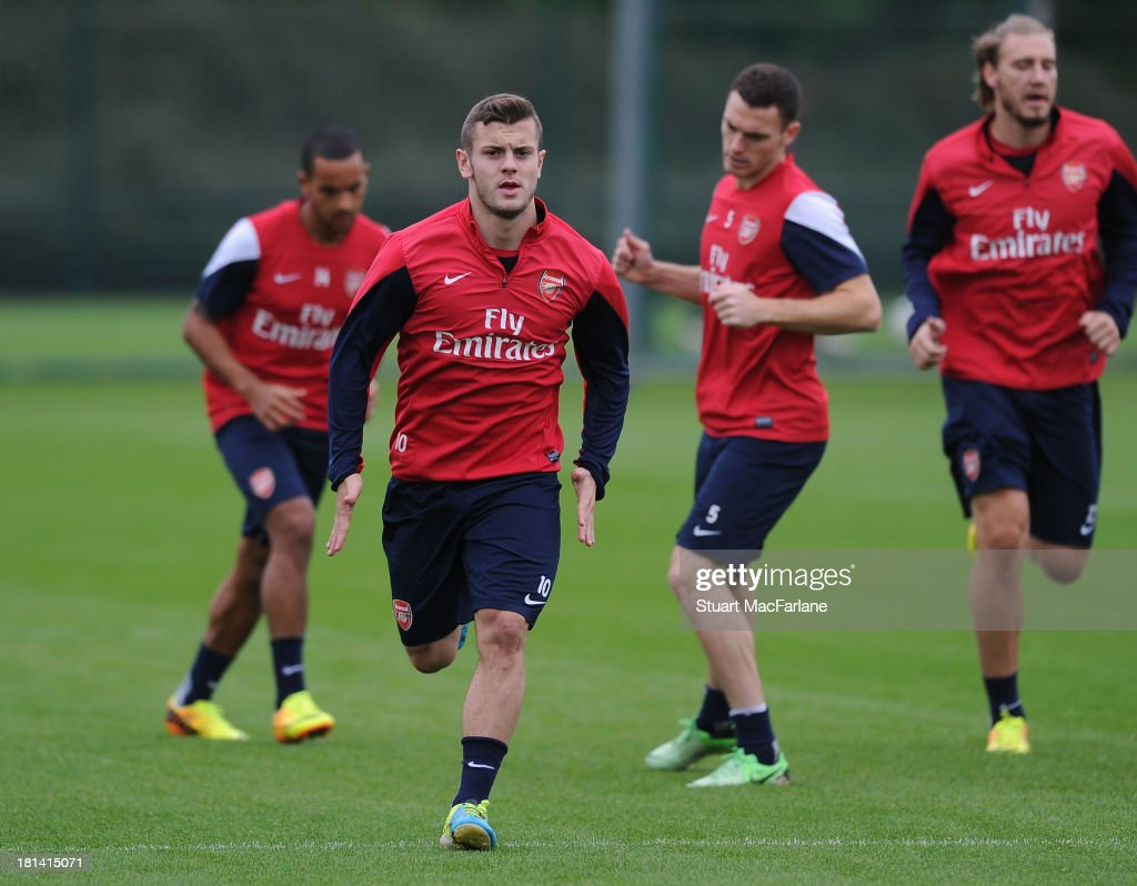 <a gi-track='captionPersonalityLinkClicked' href=/galleries/search?phrase=Jack+Wilshere&family=editorial&specificpeople=5446655 ng-click='$event.stopPropagation()'>Jack Wilshere</a> of Arsenal during a training session at London Colney on September 21, 2013 in St Albans, England.