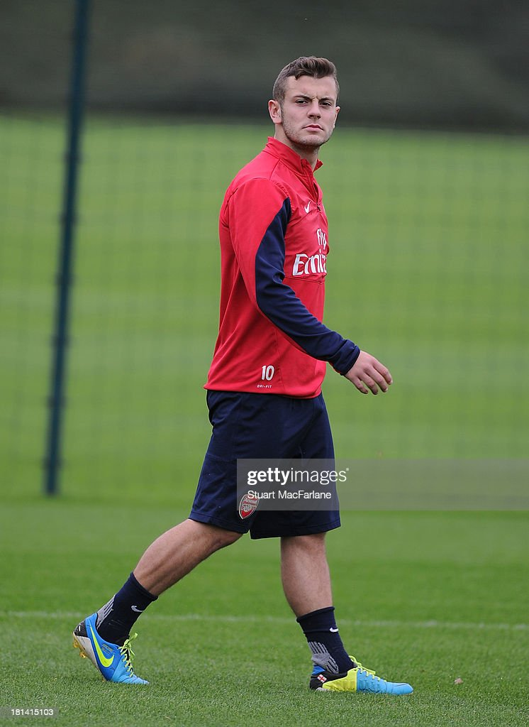 Jack Wilshere of Arsenal during a training session at London Colney on September 21, 2013 in St Albans, England.