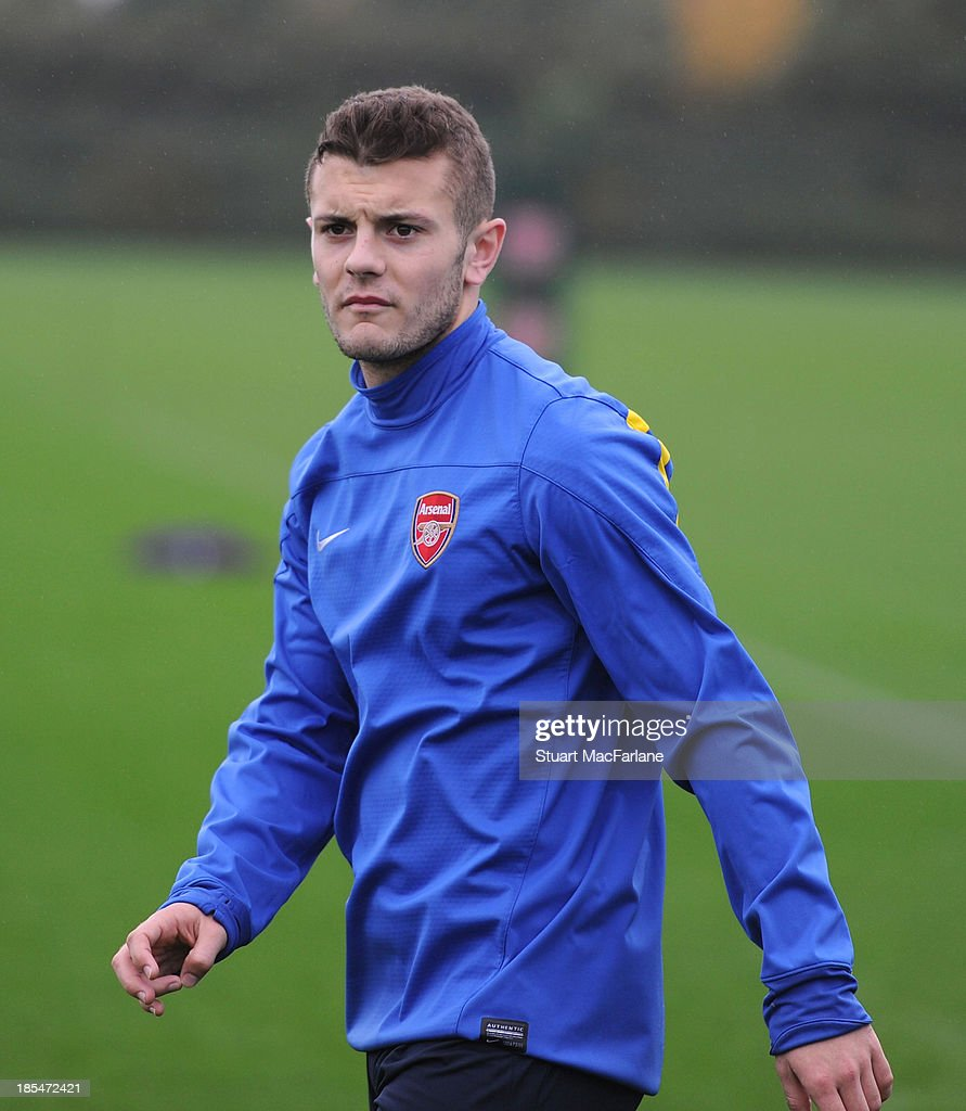 Jack Wilshere of Arsenal during a training session at London Colney on October 21, 2013 in St Albans, England.