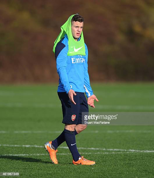 Jack Wilshere of Arsenal during a training session at London Colney on January 12 2014 in St Albans England
